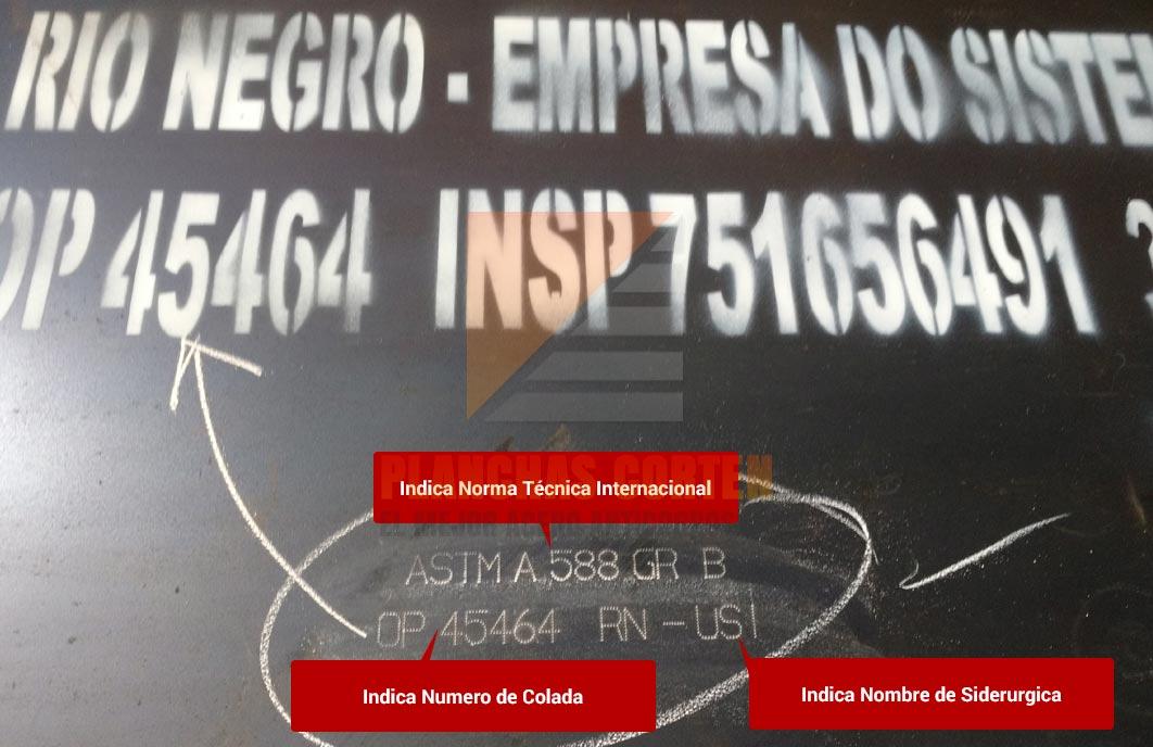 Pirograbado de Siderurgica Fabricante Planchas Corten ASTM A588 °B